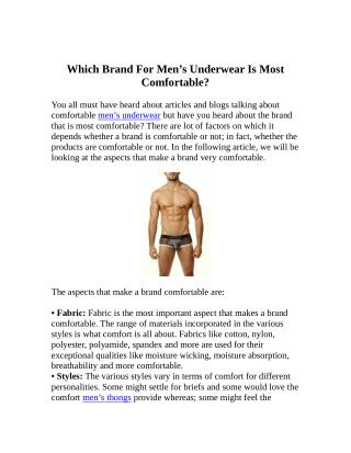 Which Brand For Men's Underwear Is Most Comfortable?