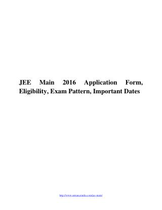 Jee main 2016 application form, eligibility, exam pattern, important dates