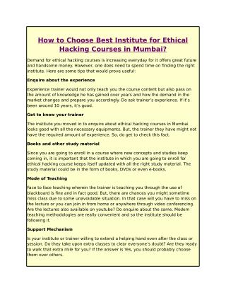How to Choose Best Institute for Ethical Hacking Courses in Mumbai?