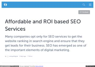 Affordable and ROI based SEO Services