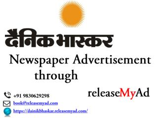 Dainik Bhaskar Newspaper Advertisement booking through releaseMyAd