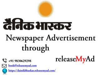 Dainik Bhaskar Newspaper Advertisement booking through releaseMyAd