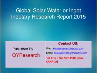 Global Solar Wafer or Ingot Market 2015 Industry Research, Analysis, Study, Insights, Outlook, Forecasts and Growth