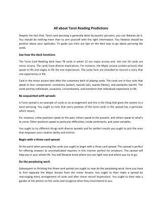 Tarot Card Reading Courses, Love Prediction