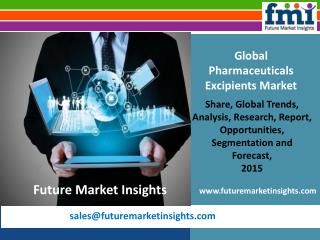 Business Opportunities in Pharmaceuticals Excipients Market, 2015-2025 by FMI