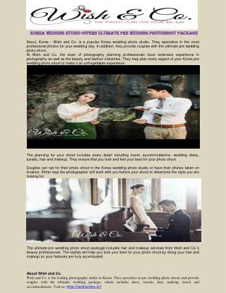 Korea Wedding Studio Offers Ultimate Pre Wedding Photoshoot Package