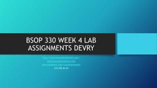 BSOP 330 WEEK 4 LAB ASSIGNMENTS DEVRY