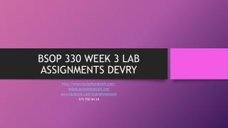 BSOP 330 WEEK 3 LAB ASSIGNMENTS DEVRY