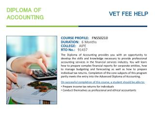 Diploma of Accounting Online Courses Australia