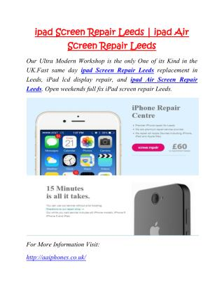 ipad Screen Repair Leeds | ipad Air Screen Repair Leeds