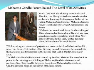 Mahatma Gandhi Forum Raised The Level of Its Activities