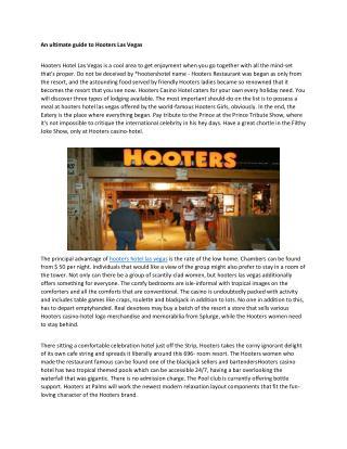 Hooters hotel las vegas