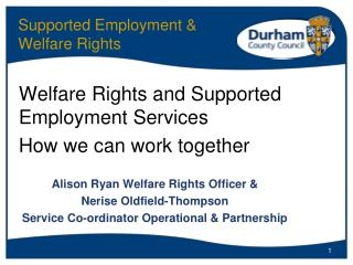 Supported Employment  Welfare Rights