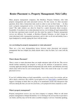 Renter Placement vs. Property Management: Nick Caffey