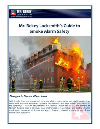 Smoke Alarm Safety Tips By Mr. Rekey Locksmith