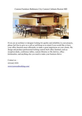 Custom Furniture Baltimore City Custom Cabinets Ruxton MD