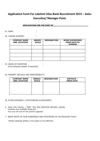 Application Form for Lakshmi Vilas Bank Recruitment 2015 � Sales Execuitve-Manager Posts