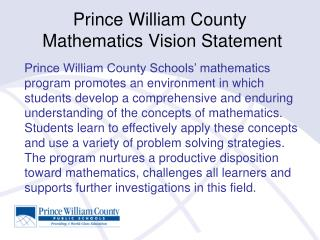 Prince William County  Mathematics Vision Statement