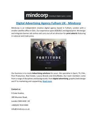 Digital Advertising Agency Fulham UK - Mindcorp