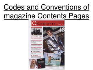 Codes and Conventions of magazine contents page