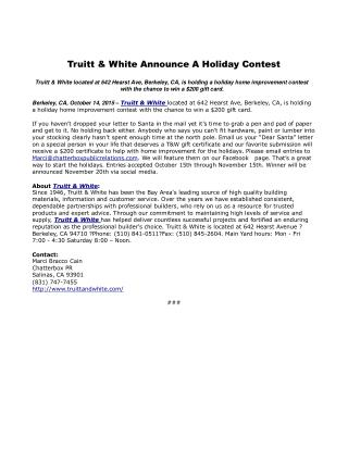 Truitt & White Announce A Holiday Contest