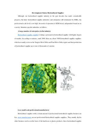 Development Status Horticultural Supplies