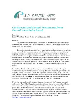 Get Specialized Dental Treatments from Dental West Palm Beach
