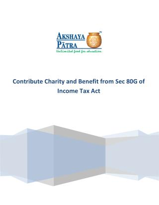 Contribute Charity and Benefit from Sec 80G of Income Tax Act
