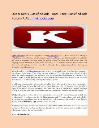 Dubai Deals Classified Ads   And   Free Classified Ads Posting UAE :  myknocks.com