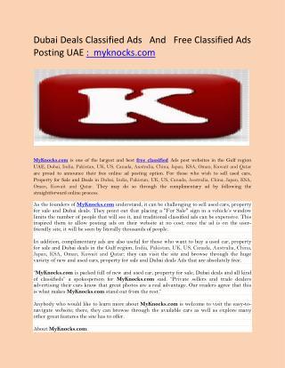 Dubai Deals Classified Ads   And   Free Classified Ads Posting UAE :  myknocks.com
