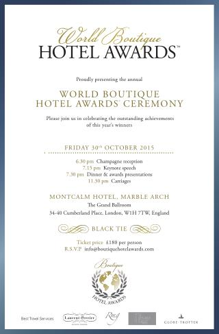 WORLD BOUTIQUE HOTEL AWARDS CEREMONY INVITATION