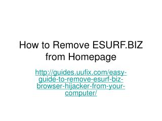How to Remove ESURF.BIZ from Homepage