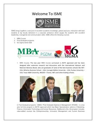 ISME -  PGDM Courses in Bangalore