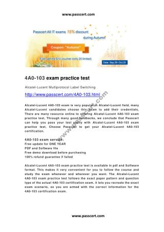 Alcatel-Lucent 4A0-103 exam practice test