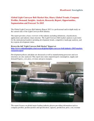 Global Light Conveyor Belt Market Analysis and Trends Forecast To 2015