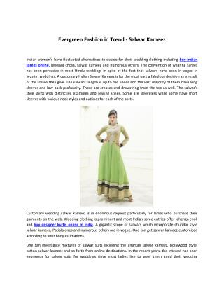 Evergreen Fashion in Trend - Salwar Kameez