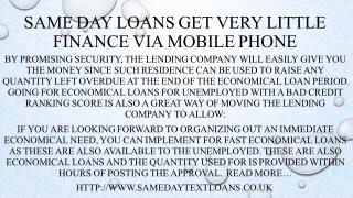 Same Day Loans Lend Quick Money in the Simpler Way Via Phone