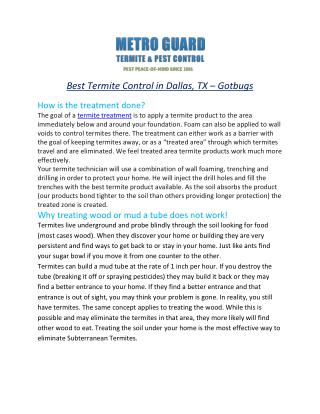 Best Termite Control in Dallas, TX – Gotbugs