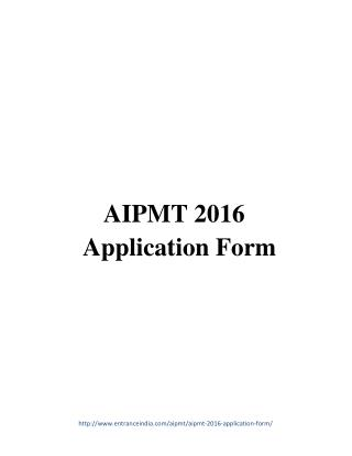 AIPMT 2016 Application Form