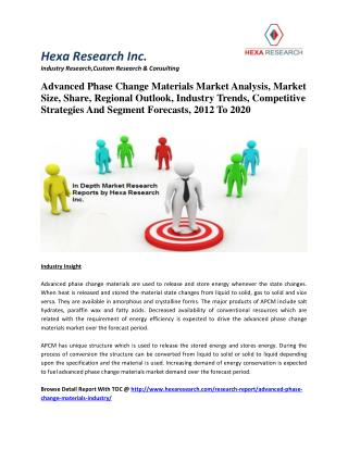Advanced Phase Change Materials Market Analysis, Market Size, Share, Regional Outlook, Industry Trends, Competitive Stra