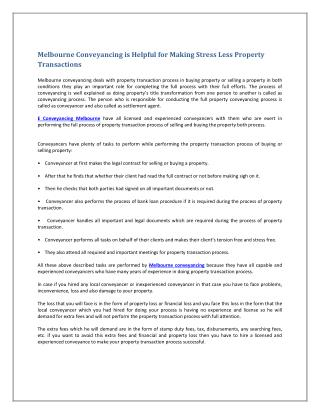 Melbourne Conveyancing is Helpful for Making Stress Less Property Transactions