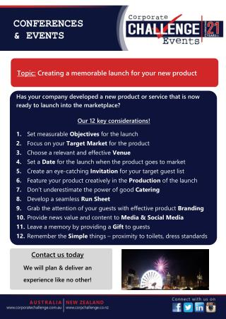 Corporate Challenge Events -Creating a memorable launch for your new product