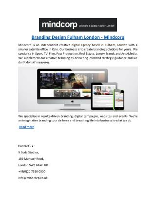 Branding Design Fulham London - Mindcorp
