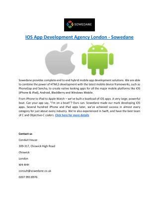 IOS App Development Agency London - Sowedane
