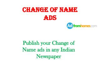 name change advertisement in Indian newspaper