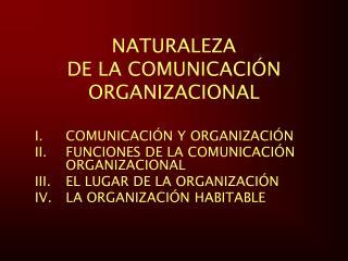 NATURALEZA  DE LA COMUNICACI N ORGANIZACIONAL