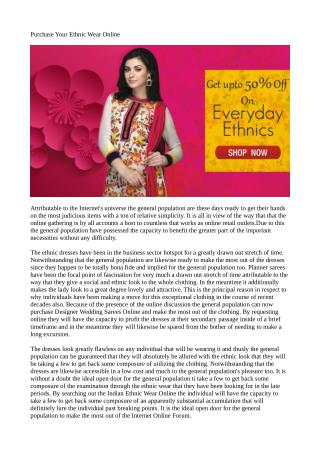 Purchase Your Ethnic Wear Online