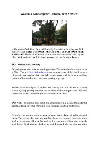 Gastonia Landscaping Gastonia Tree Services