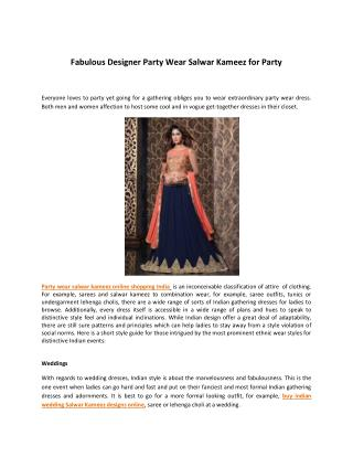 Fabulous Designer Party Wear Salwar Kameez for Party