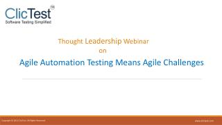 Webinar: Agile Automation Testing Means Agile Challenges